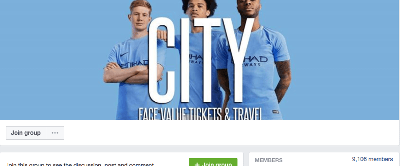 Manchester City Facebook resale