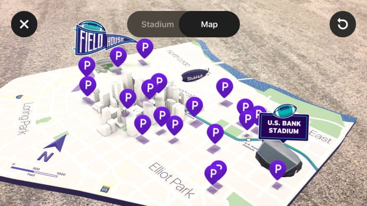 62ffa7b5aac Fans using iOS will see a prompt to access immersive view on the landing  page for Super Bowl ticket buyers on the StubHub app. Once the user  confirms camera ...