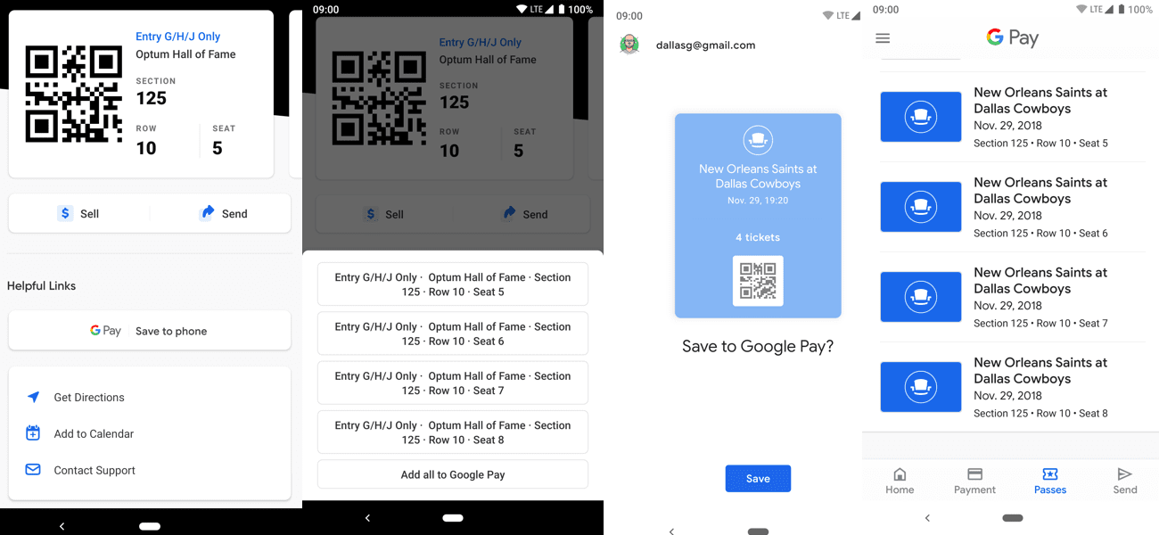SeatGeek Google Pay