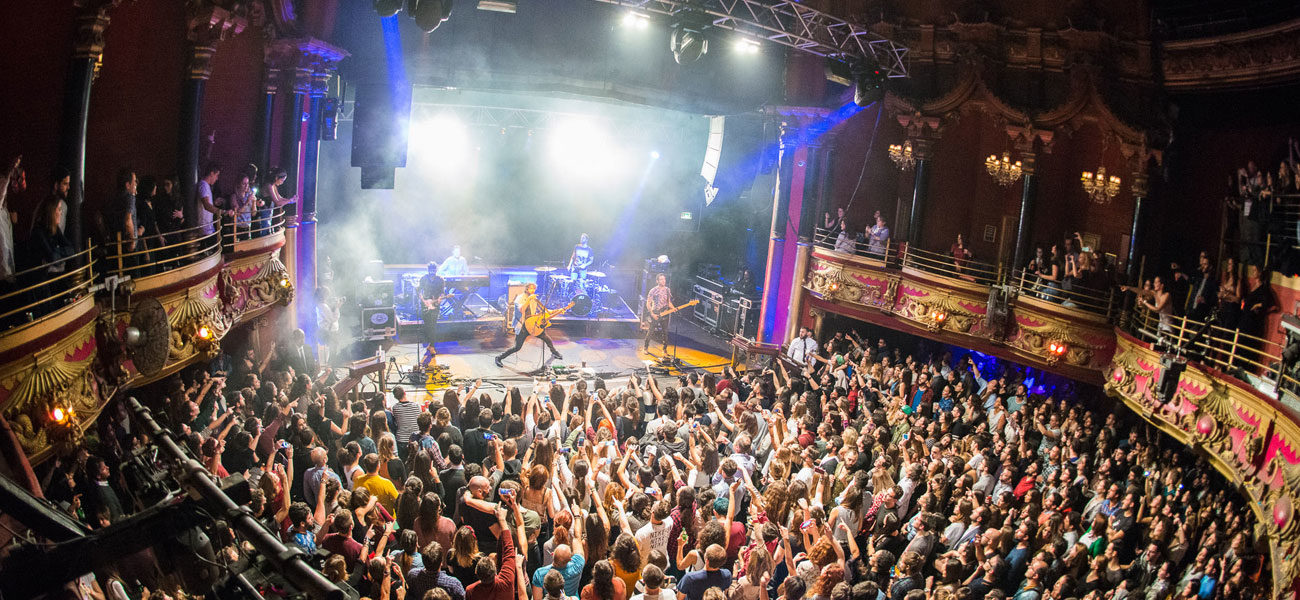 A band plays Clapham Grand in London